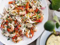 Salat mit Pute, Garnele und Sellerie Rezept