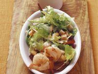 Salat mit Shrimps, Croutons und Vinaigrette Rezept