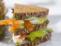 Sandwich mit Birnen und Shrimps Rezept