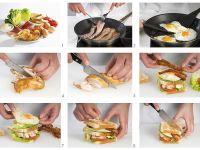 Sandwich mit Ei, Hühnchen, Speck und Tomaten Rezept