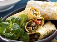 Scharfe Wraps mit Lamm und Paprika Rezept