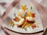 Schnee-Eier mit Früchten