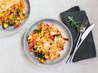 Schnelles Reis-Ofen-Gemüse mit Hähnchen Rezept