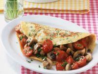 Schnittlauchpfannkuchen mit Pilz-Tomatenfüllung Rezept