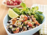 Schwarze Bohnen-Reis-Pfanne mit Garnelen Rezept