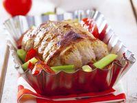 Schweinebraten mit Lauch und Tomaten Rezept