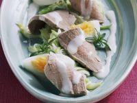 Schweinefilet mit Porreesalat und harten Eiern Rezept