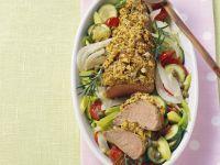Schweinefilet mit Senfhaube und gebackenem Gemüse Rezept
