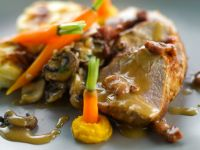 Schweinelende mit Pilzen und Kartoffelgratin Rezept