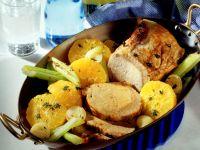 Schweinerückenbraten mit Orangen und Sellerie Rezept