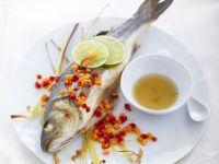 Seebarsch auf Olive, Tomate und Fenchel Rezept