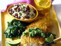 Seebarsch mit Kartoffelkruste und Reissalat Rezept