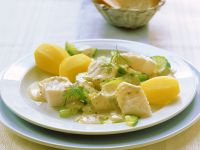 Seelachs mit Gurken und Senfsauce Rezept