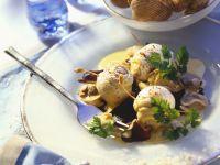 Seeteufelrouladen mit Venusmuscheln Rezept