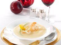 Sellerie-Orangen-Suppe mit Ingwer-Garnelen Rezept