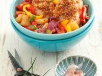 Sesam-Hähnchen mit Paprikagemüse Rezept