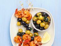 Shrimps-Oliven-Spieße Rezept