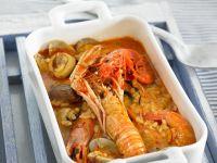 Spanische Reissuppe mit Scampi Rezept