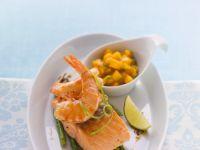 Spargel mit Lachs und Shrimps Rezept