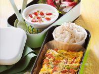 Speck-Tortilla, Reis und Erdbeerquark Rezept