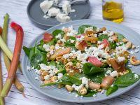 Spinat-Salat mit Rhabarber und Feta