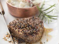 Steak mit Pfeffer dazu Kartoffelbrei Rezept