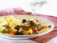 Steak vom Strauß mit Gemüse und Pasta Rezept