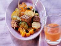 Straußenfilet mit Zucchini-Kürbisgemüse Rezept