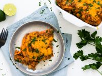Süßkartoffel-Lasagne mit Kichererbsen
