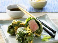 Thunfisch im Spinat-Tempuramantel frittiert Rezept