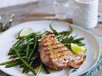 Thunfisch vom Grill mit grünen Bohnen Rezept