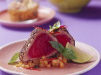 Thunfischsteak in Pfeffermantel mit Melonensalsa Rezept