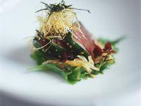 Thunfischsteak mit Knuspernudeln Rezept
