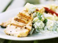 Thunfischsteak vom Grill mit Gurkensalat Rezept