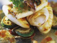 Tintenfisch mit Ratatouille-Gemüse