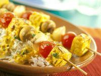 Tofu-Gemüse-Spieße mit Currysauce Rezept