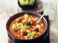 Tomaten-Mais-Suppe mit Hackbällchen Rezept