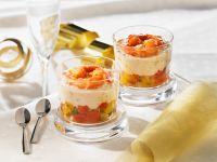 Tomaten, Shrimps und Käsecreme in Gläsern Rezept