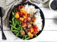 Tomaten-Tofu mit Bohnen und Basmatireis