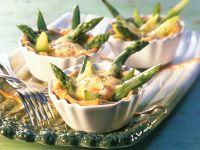 Torteletts mit grünem Spargel und Ei Rezept