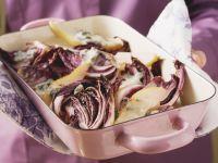 Überbackener Radicchio mit Blauschimmelkäse und Birne Rezept