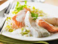 Verschiedene Fische und Lauch in Dillsauce Rezept
