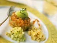 Vorspeise mit Lachs, Gurken und Kartoffeln Rezept