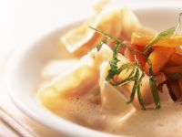 Wan-Tan mit Hummer dazu Tomatenkompott Rezept