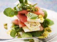 Wassermelonensalat mit Schafkäse und Brunnenkresse Rezept