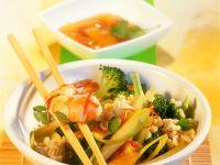 Weizen-Gemüsepfanne mit Garnelen Rezept