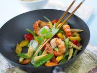 Wokgemüse mit Shrimps Rezept