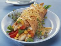 Wrap mit Hähnchen und Käse überbacken Rezept