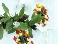 Ziegenkäse mit Bärlauchwickel und Paprikasalat Rezept