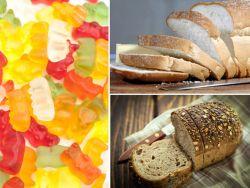 Collage aus Gummibärchen, Schwarzbrot und Weißbrot